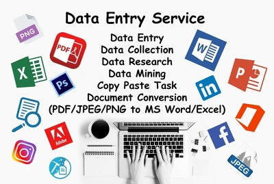 Do any kind of data entry work Only 1 hour