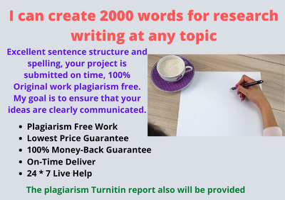 Create a 2000 words for research writing at any topic