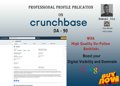 Create a Crunchbase profile for an Entrepreneur or Business