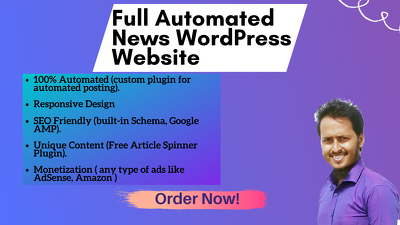 Create a full automated wordpress news website with single topic