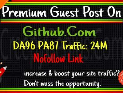 Provide guest post on Github.com, DA 97