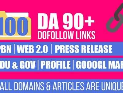 Provide 100 DA90+ Backlinks
