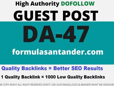 Publish a Guest Post on formulasantander/formulasantander.com