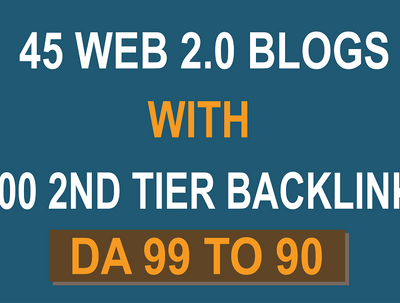 Provide Powerful 45 Web 2.0 Blogs and 4500 Backlinks DA 99 to 90