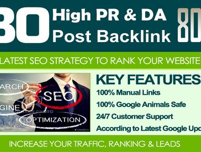 80 Unique High PR SEO BackIinks on DR 80+ sites Plus Edu Links
