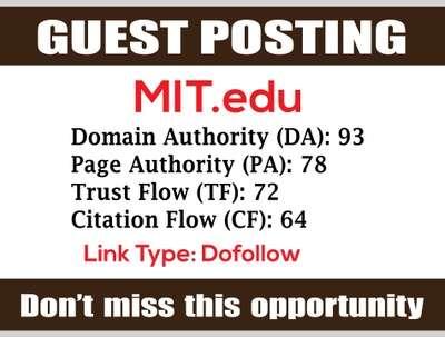 Guest Post on MIT, MIT.edu DA93 - Dofollow